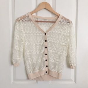 See-through White Embroidered  Cardigan